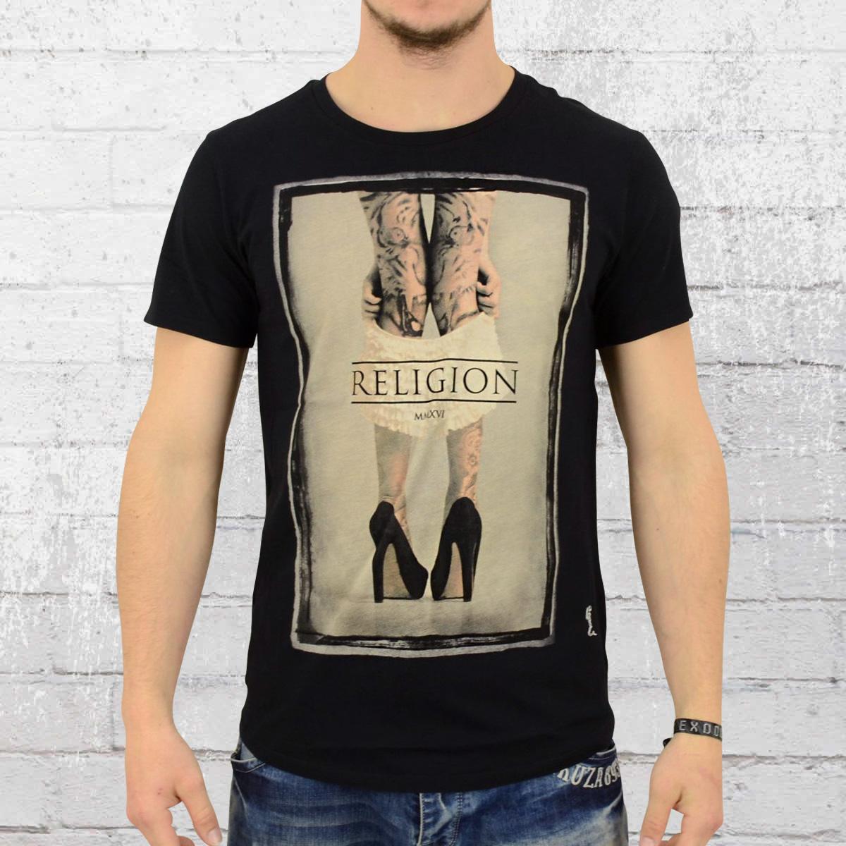 Religion Clothing T-Shirt Mens Pull them Down black