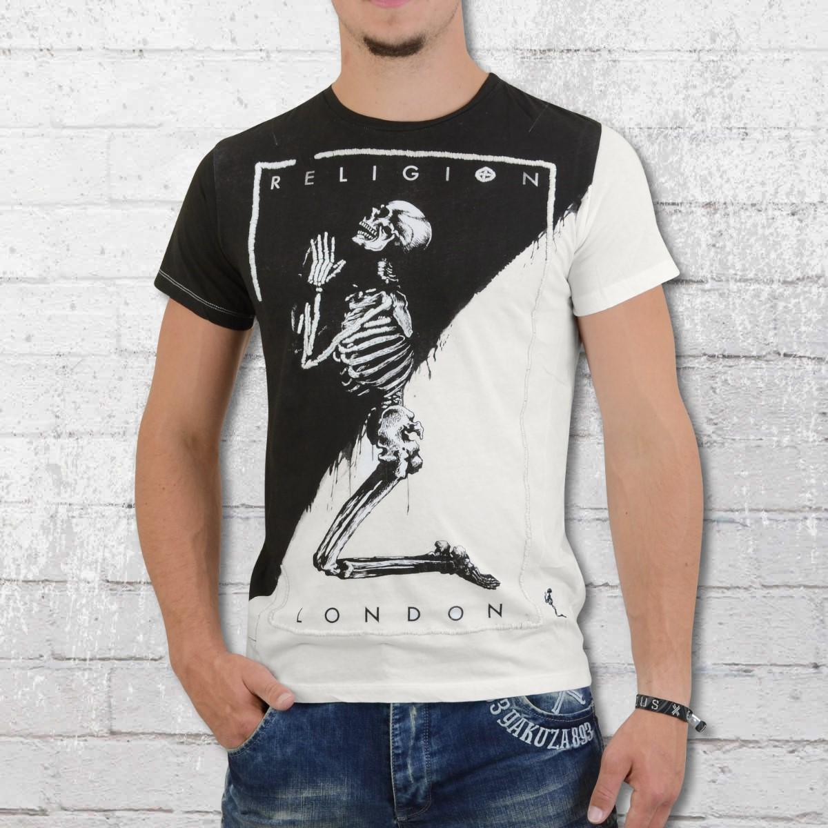 Religion Clothing T-Shirt Men Dripping Skeleton DKF 02 white. ›‹ «
