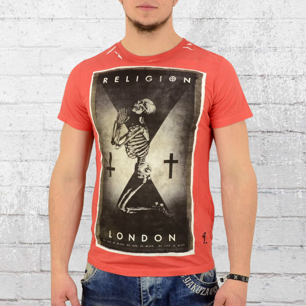 Religion Men T-Shirt Praying Skeleton red