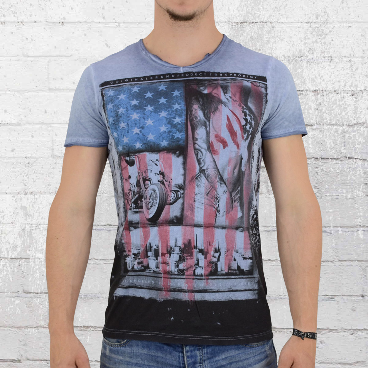 1514893f85da Jetzt bestellen   Trueprodigy Männer T-Shirt USA blau   krasse-shirts.de