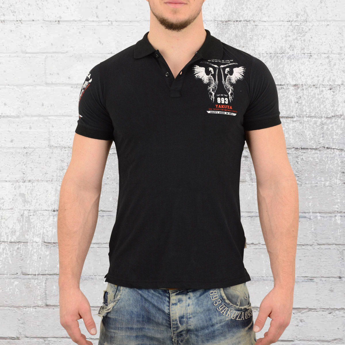 Yakuza Men Polo Shirt Happy Hour black. ›‹ «