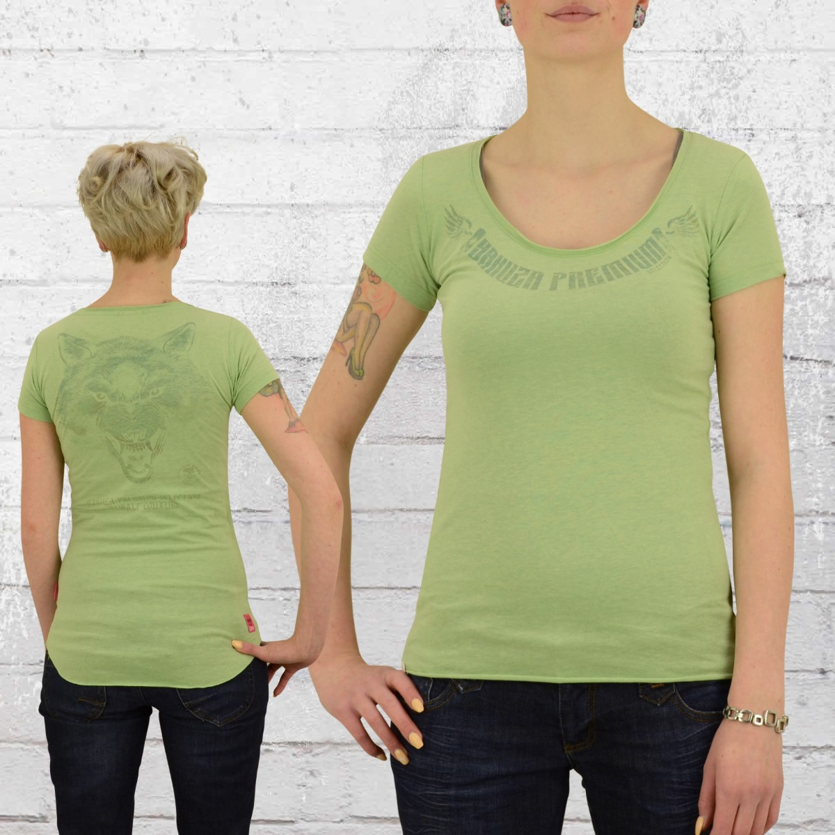 Jetzt bestellen | Yakuza Premium Frauen T-Shirt Wolf 2240 lindgrün ...