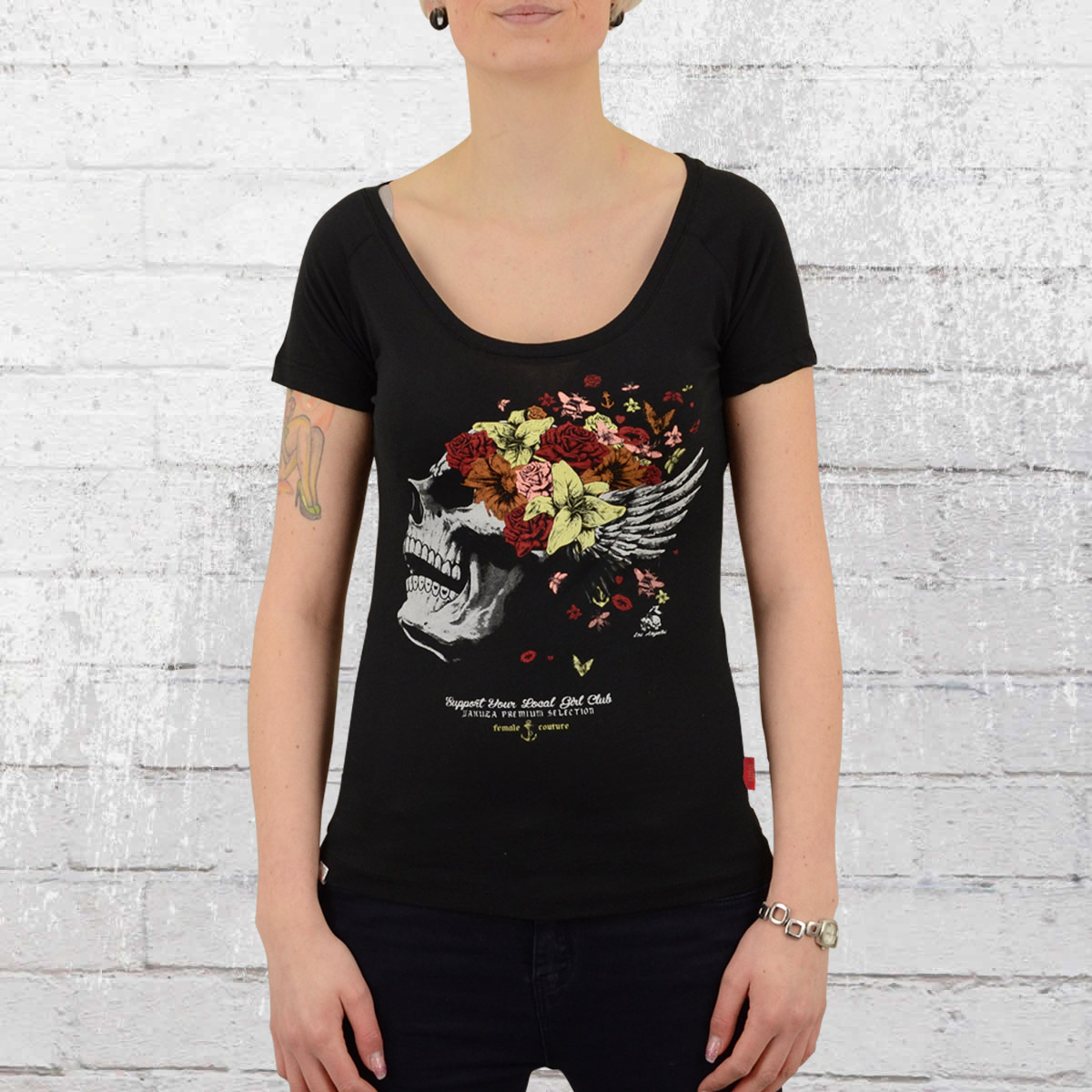 3f7ef61ef Order now | Yakuza Premium Womens Shirt Flower Skull black