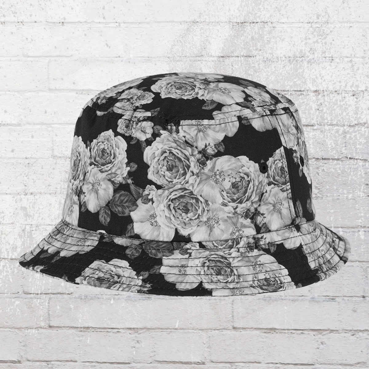 97c6ce170e4 Yupoong by Flexfit Summer Roses Bucket Hat black grey. ›‹ «