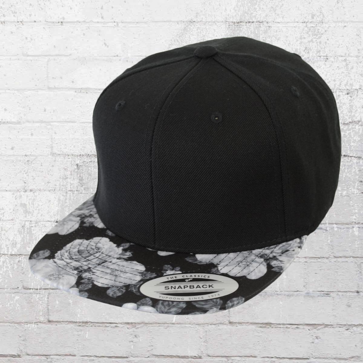 Order Now Yupoong By Flexfit Baseball Snapback Cap Roses Black Grey