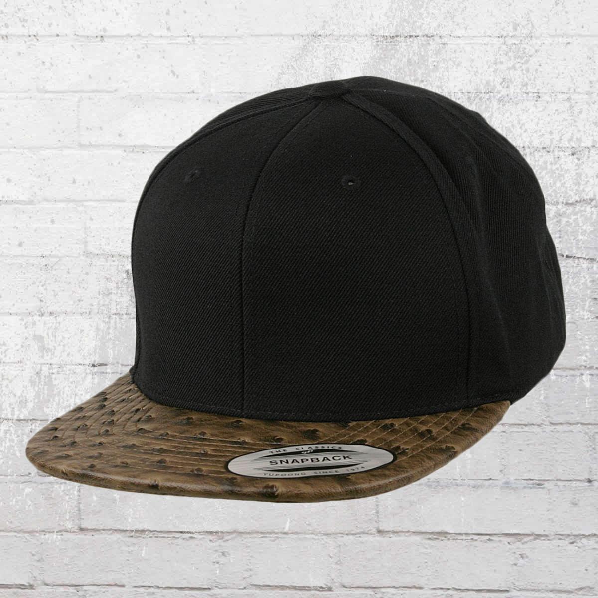 cb595bd5a10ec Yupoong by Flexfit Hat Leather Snapback Cap black ostrich. ›‹ «