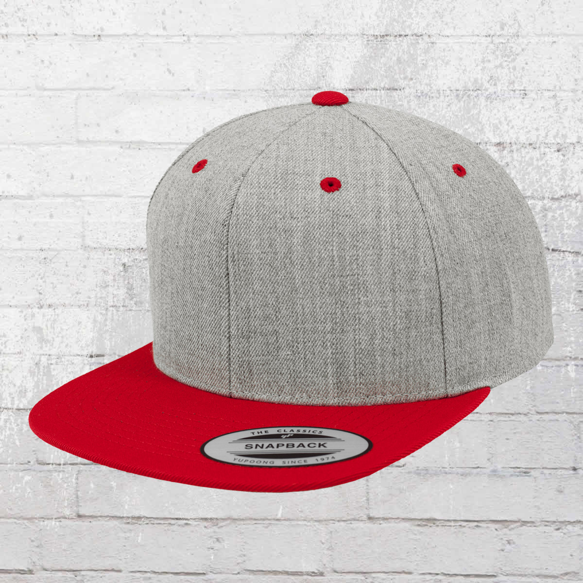 d444888acaf Yupoong by Flexfit Classic Snapback 2-Tone Cap heather grey red. ›‹ «