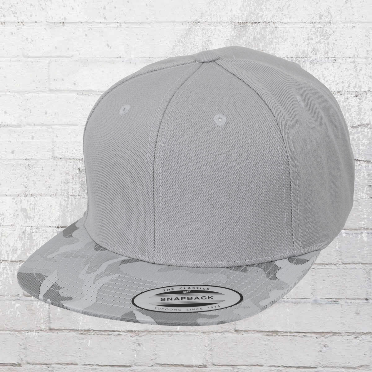 6a263cb39b2 Yupoong by Flexfit Hat Classic Snapback Camo Visor Cap light grey. ›‹ «
