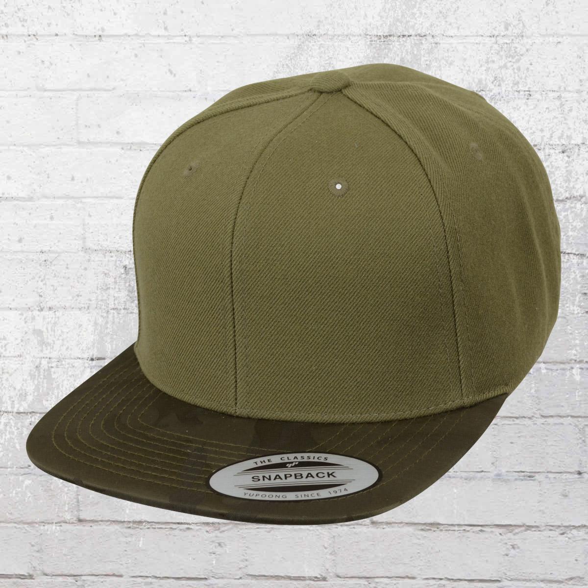 Yupoong Hat Classic Snapback Camo Visor Cap olive green. ›‹ « 3d82a8d69f2