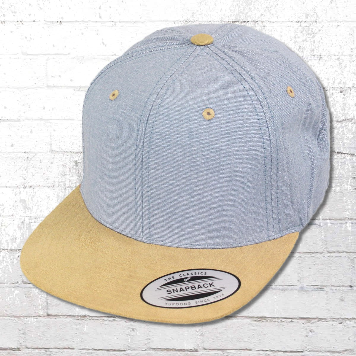 2f70465707073 Yupoong by Flexfit Hat Chambray Suede Snapback Cap blue beige. ›‹ «