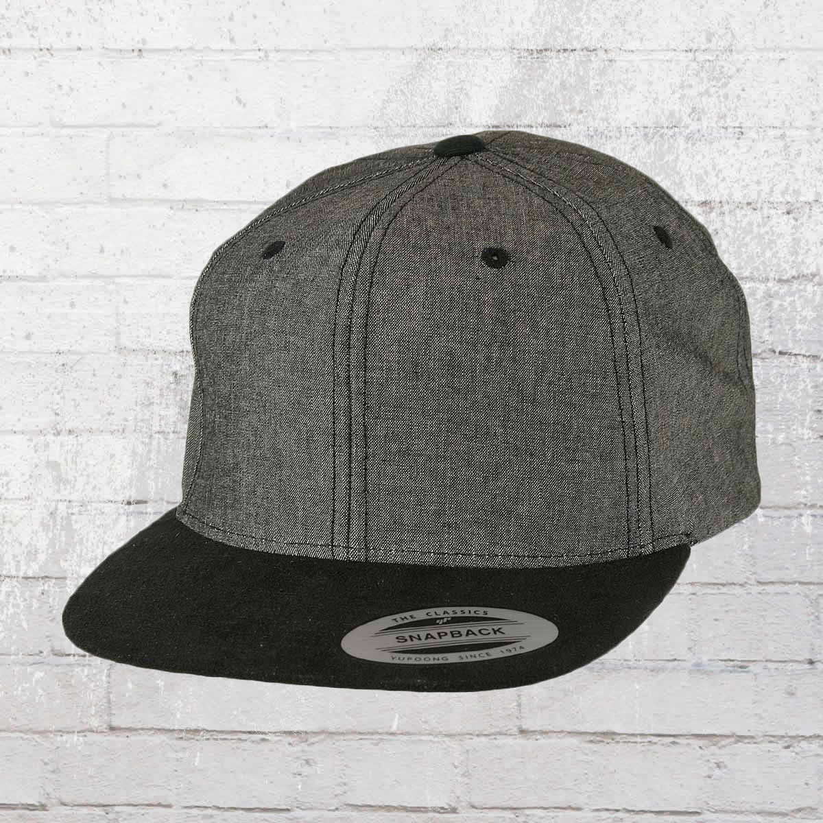 a1c982224b115 Yupoong by Flexfit Hat Chambray Suede Snapback Cap black black. ›‹ «