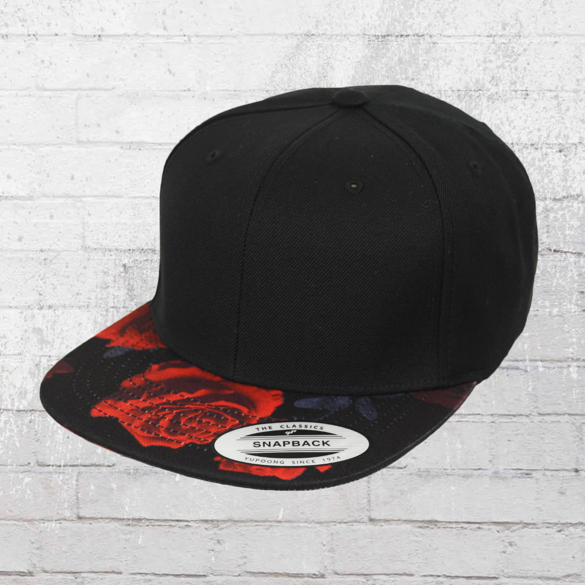 31ed35f2c5746 Yupoong by Flexfit Baseball Hat Snapback Cap Roses black red. ›‹ «
