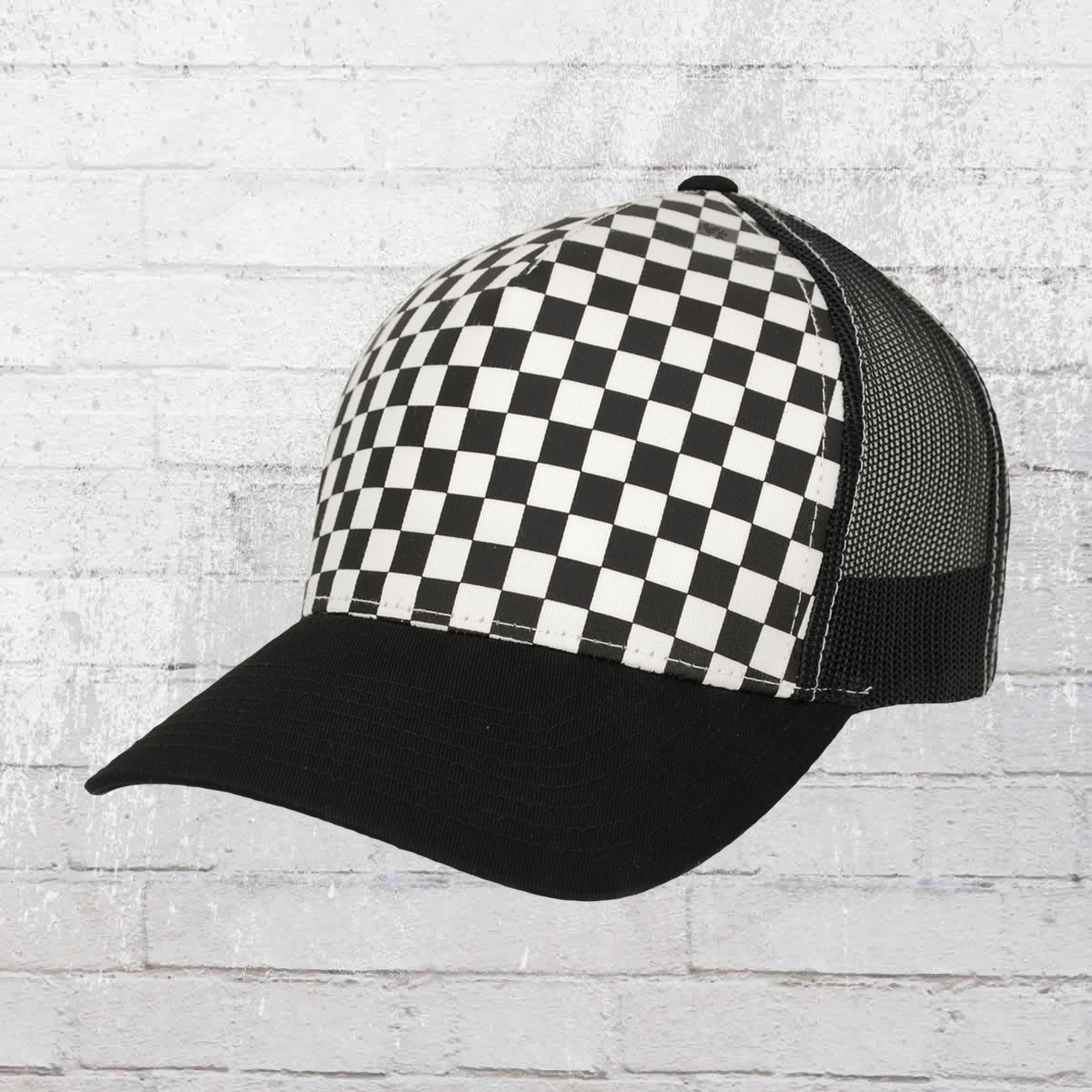 d816fe8444b Yupoong Hat Retro Trucker Cap black white checkered. ›‹ «