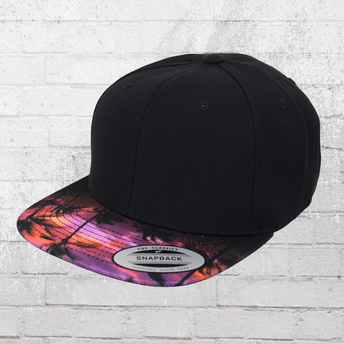 79f11c8248d Yupoong by Flexfit Snapback Hat Sunset Peak black multi