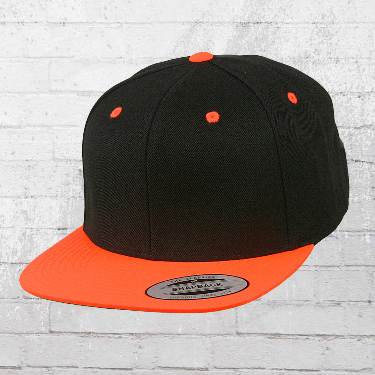 0e1dd7387c9 Yupoong by Flexfit Hat Classic Snapback 2-Tone Cap black neon orange. ›‹ «