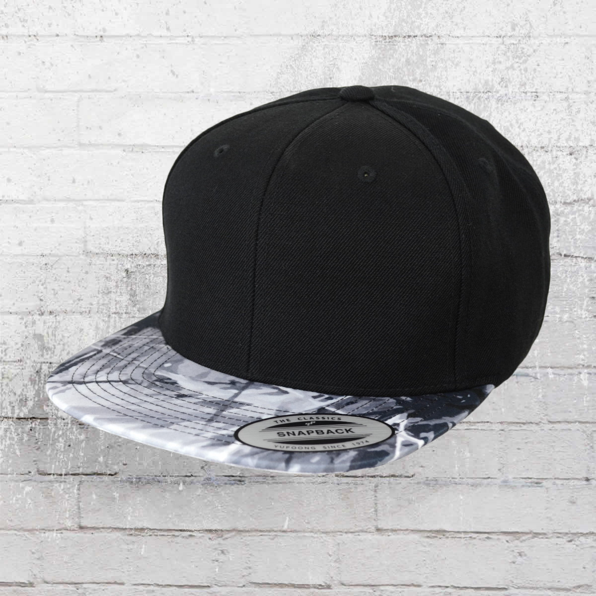 cc84da3dc30 Yupoong Hat Oil Paint Snapback Cap black grey-blue. ›‹ «
