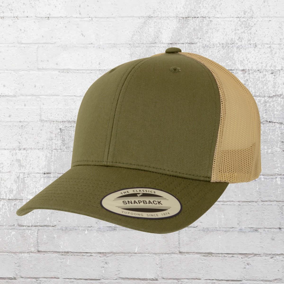 Yupoong Retro Trucker Cap 2-Tone olive khaki. ›‹ « 987b02fe88e