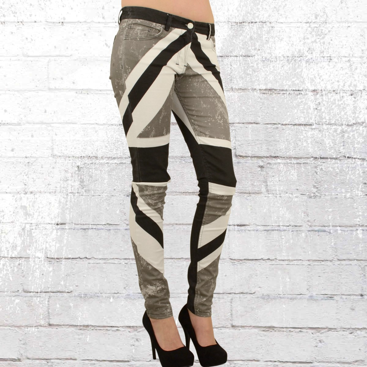 Jetzt bestellen   Religion Damen Skinny Jeans Hose Union Jack ... efd8f8262a