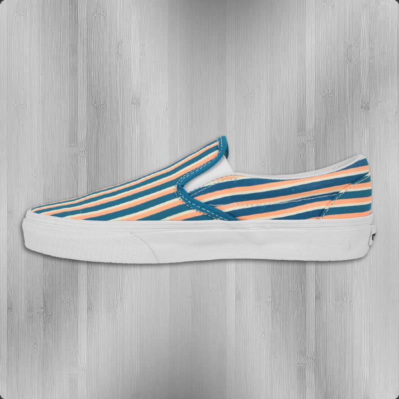 VANS Frauen Schuhe Classic Slip On Multi Stripes teal peach nectar - 38,5